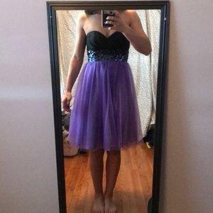 Strapless purple/black dress